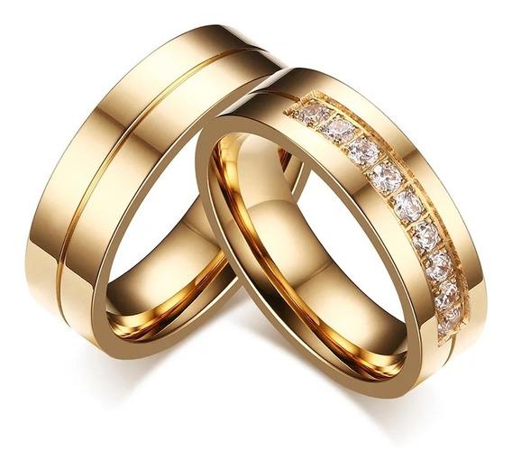 Alianças De Namoro Noivado Casamento Banhada Em Ouro 18k