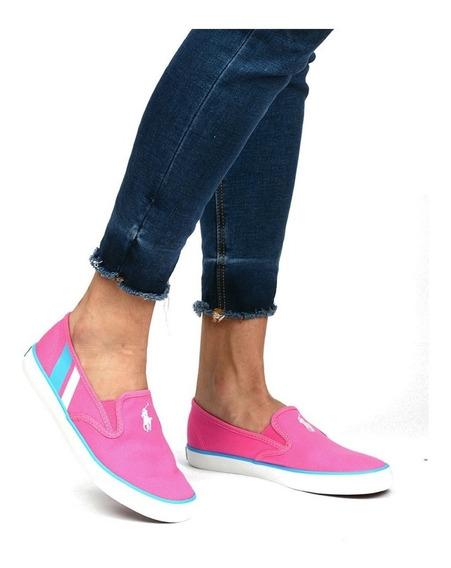 Tenis Polo Ralph Lauren Para Mujer Tipo Slip On Rosa Chicle
