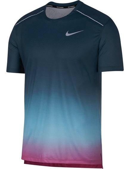 Playera Nike Dri-fit Miler Aq4930-496 Azul