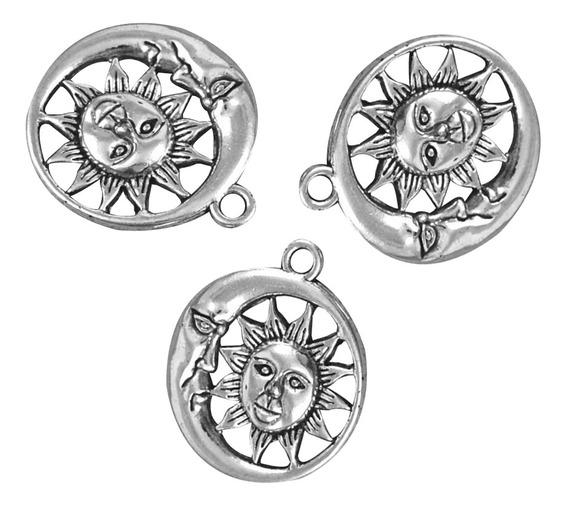 10pcs Creciente Luna Sol Encanto Colgante Fok Collar Joyas H