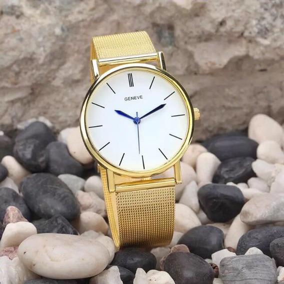 Relógio Dourado Com Visor Branco E Ponteiro Azul