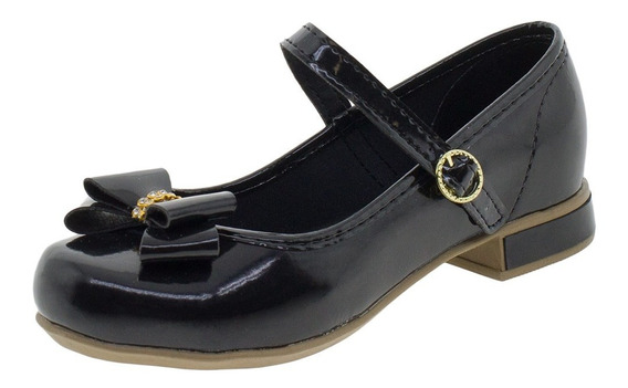 Sapato Infantil Feminino Bonekinha - 330002 Verniz/preto