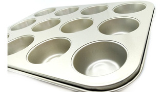 Placa De Teflón Con 12 Moldes Para Muffins De 6 Cm X 2,5 Cm