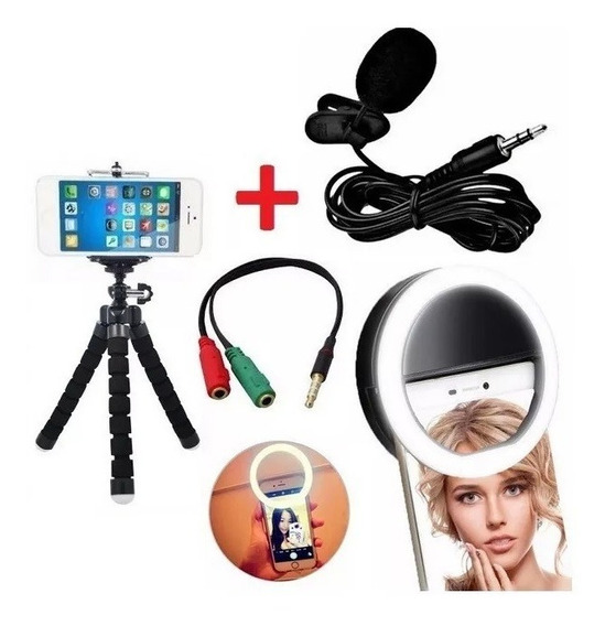 Kit Youtuber Microfone Lapela Celular + Mini Tripé Flash Top