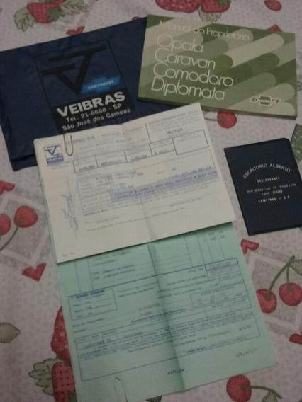 Manual Proprietario Opala 80 Pasta Revenda Nota Fiscal Raro