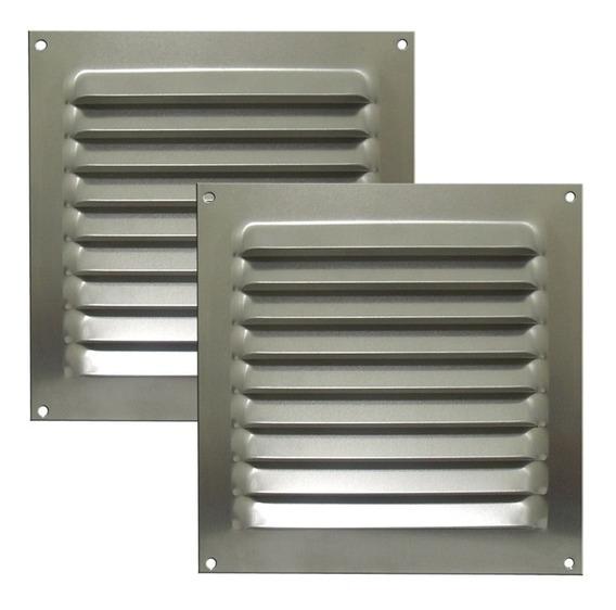Kit 2 Grades De Ventilação Quadrada De Alumínio Itc 20x20 Cm