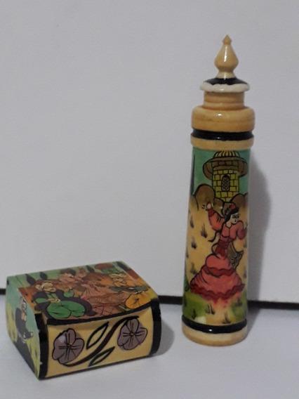 Antiga E Rara Caixinha E Potinho Com Tampa De Marfim Pintado