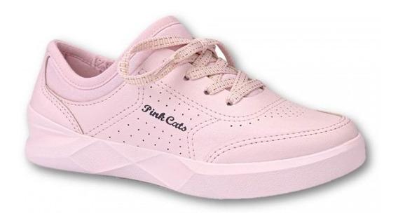 Tênis Pink Cats Menina Casual V1154 - Rosa