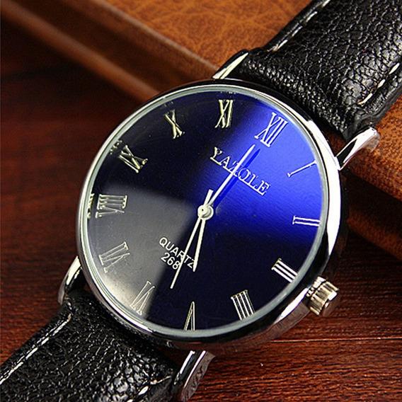 Relógio Yazole Original - Algarismo Romano - Reflexo Azul