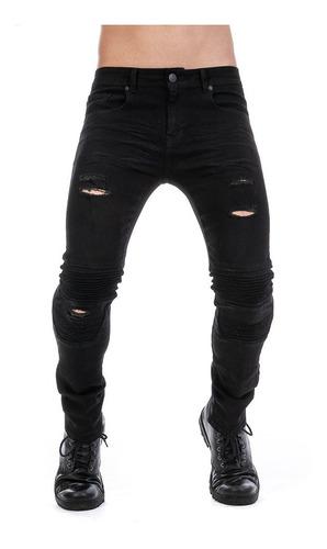 Imagen 1 de 10 de Pantalón Jeans Negro Biker Hombre Skinny Mezclilla Stretch