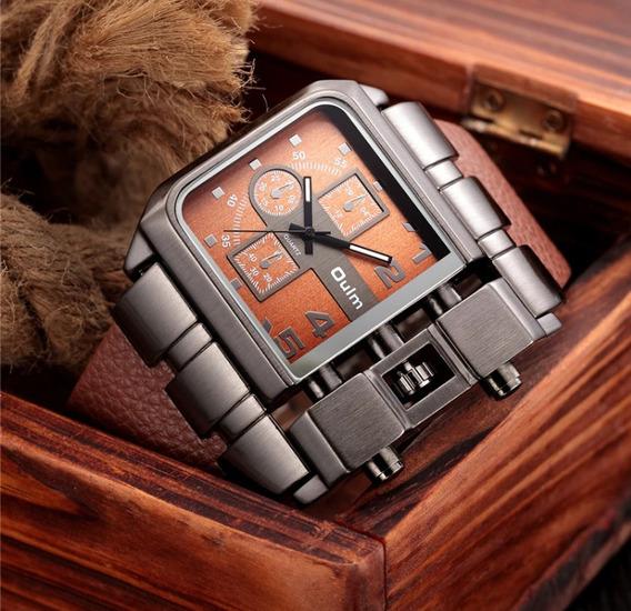 Relógio De Pulso Masculino Couro Aço Inoxidável Oulm Novo
