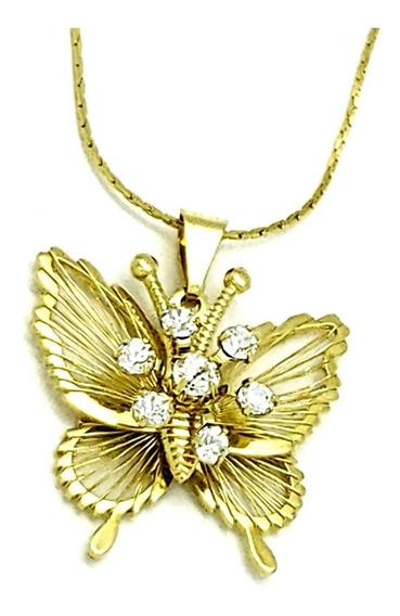 Cordão E Pingente Borboleta Cristal Banho De Ouro 18k 4501