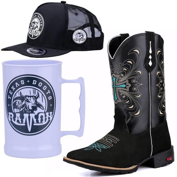 Bota Texana Feminina Bordado Cruz Ramon Boots.