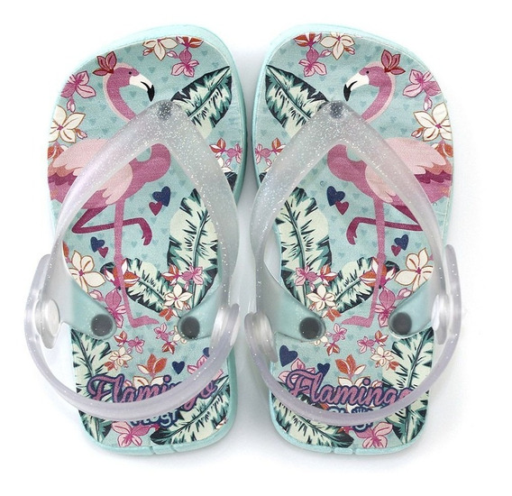 Chinelo Plugt Beach Flamingo Infantil - Piscina