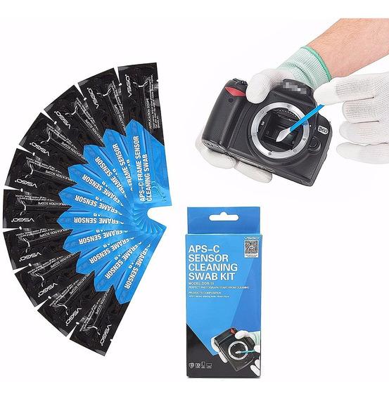 10 Pc Vsgo Professional Aps-c Sensor Câmera Limpeza Swab Kit