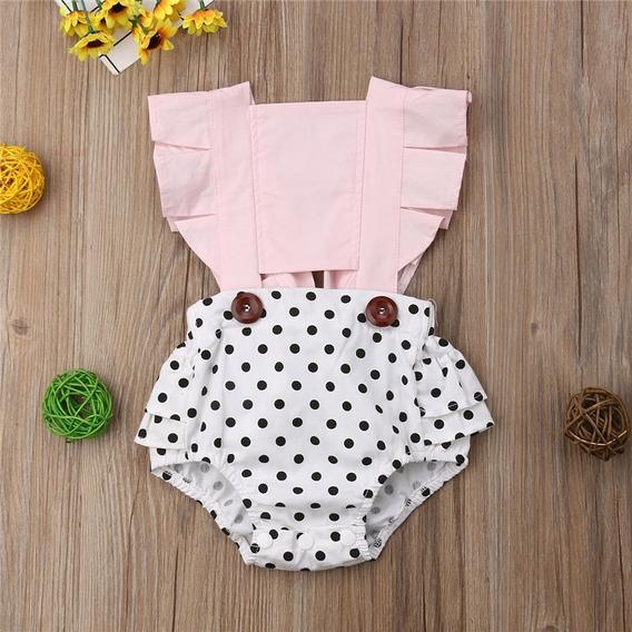 Ropa Casual Moda Para Niñas Bebé Pañalero Olanes Rosa Claro