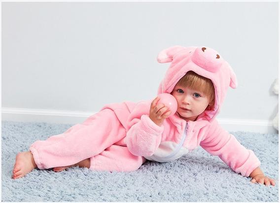 Macacão Bebê Bichinhos Desenho Fantasia Menina Porquinha