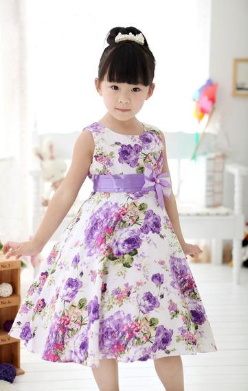 Vestido Infantil Estampado Floral Lilas 3 5 6 8 10 Anos