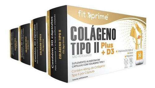 4 Caixas Colágeno Tipo 2 Plus + D3 40mg 30cps Fitoprime