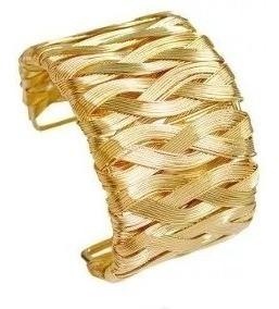 Pulseira Feminina Dourada Grossa Bracelete Frete Gratis
