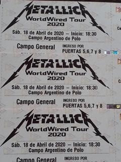 Entrada Para Metallica 18/4/2020
