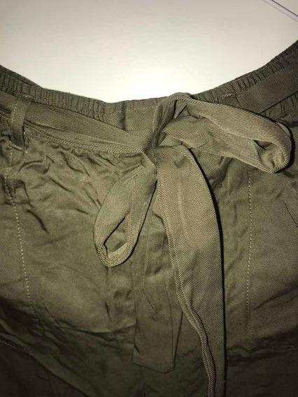 Pantalón Largo Verde Militar Con Nudo, Talle Medium,sin Uso!
