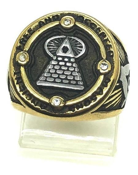 Anel Maçonaria Illuminati Olho Que Tudo Ve Piramide Stlr A40