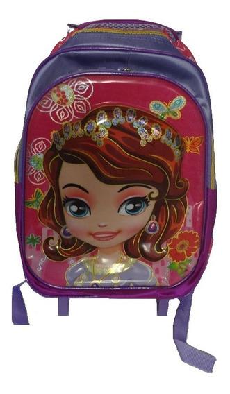 Mochila Infantil Escolar Lilás Feminina 3d Com Rodinhas