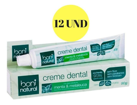 12x Creme Dental Boni Natural Menta E Melaleuca S/ Flúor 90g