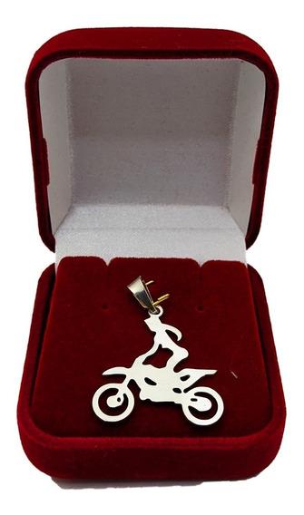 Pingente Moto Cross Feminino Prata 925