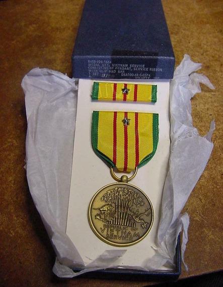 Medalha Us Vietnam Service + Ribbon Star _ Box