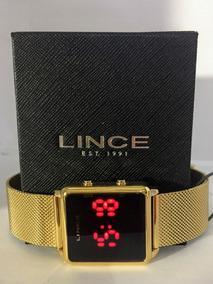 Relógio Lince Feminino Led Dourado Quadrado Mdg4596l Pxkx