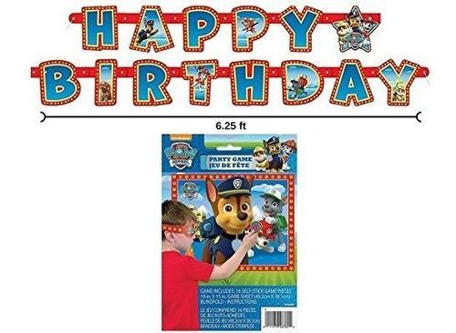 Paw Patrol Happy Birthday Banner Y Juego De Fiesta Para 16 D