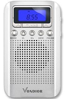 Radio De Bolsillo Portatil Amfm Digital Con Reloj De Alarma