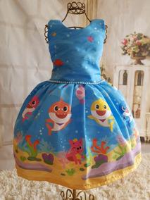 Vestido Temático Infantil Baby Shark Azul Luxo