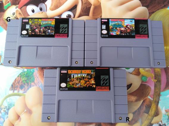 Donkey Kong 1 2 E 3 Trilogia Dk Super Nintendo Snes Salvando