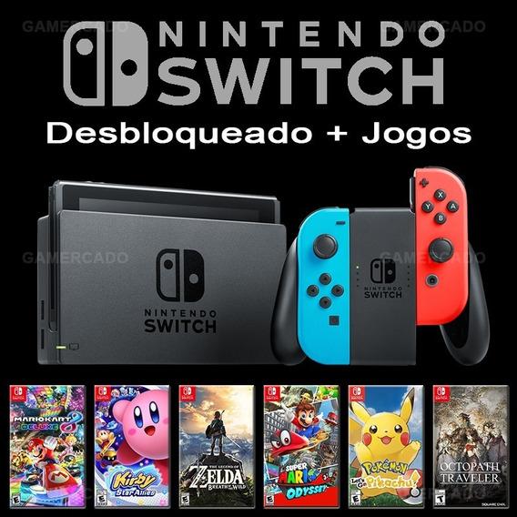 Nintendo Switch Desbloqueado 32 Gb + 32 Jogos + Sd 64 Gb