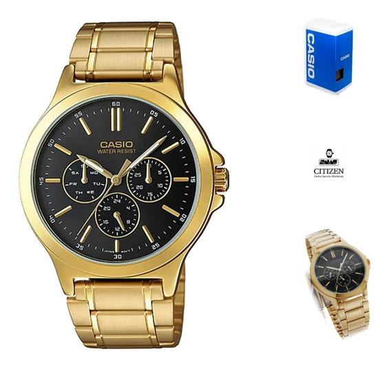 Reloj Casio Quartz Mtpv300 Unisex Dorado Negro Full