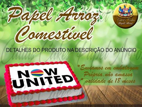 Papel De Arroz Comestível Bolo Now United