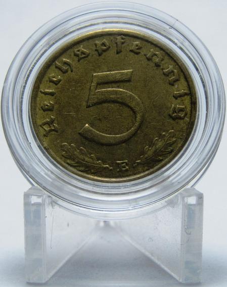 Alemania Nazi 5 Pfennig 1938 E Au Bronce Km#91 En Capsula