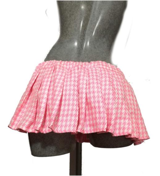 Friruche Se Minifalda Tableada En Pata De Gallo Color Rosa