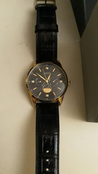 Reloj Guess Original Extensibles Negro De Cuero, Elegante.
