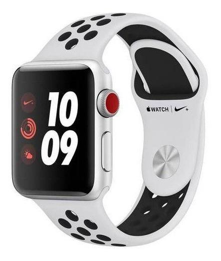 Apple Watch Nike+ Series 3 Cellular + Gps - 38mm Caixa Prata De Alumínio Com Pulseira Esportiva Nike Preta / Cinza