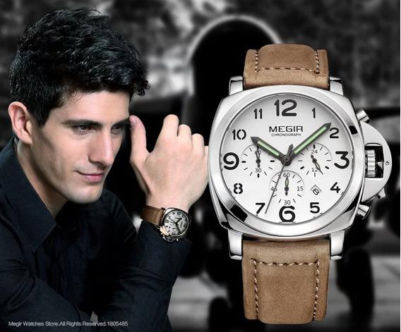 Relógio De Pulso Masculino Megir Pulseira De Couro Luxo