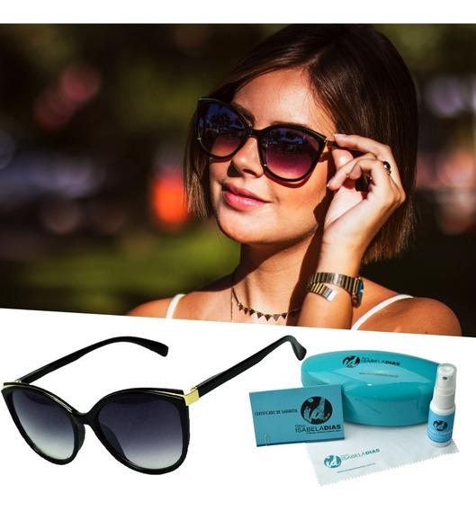 Oculos De Sol Feminino Preto Dourado Gatinho Isabela Dias Uv