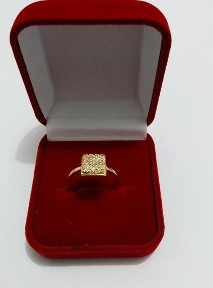 Anel Chuveiro Quadrado Cravejado Ouro 18k 750 Polido