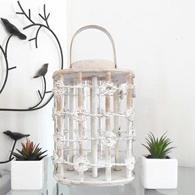 Lanterna Marroquina Decorativa Porta Velas Branca Bambu