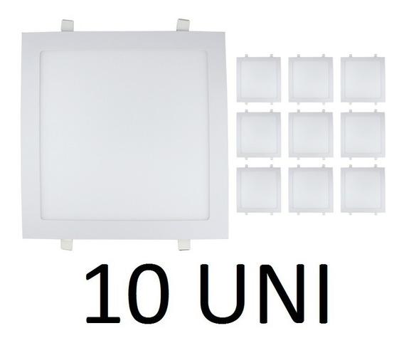 Kit 10 Painel Plafon 25w Led Quadrado Embutir Branco Frio