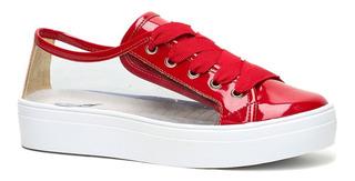 Tênis Solado Flatform Vinil Vermelho Ff Shoes