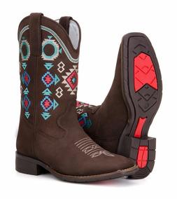 Bota Country Feminina Texana Rodeio Couro Legitimo Blaqueada
